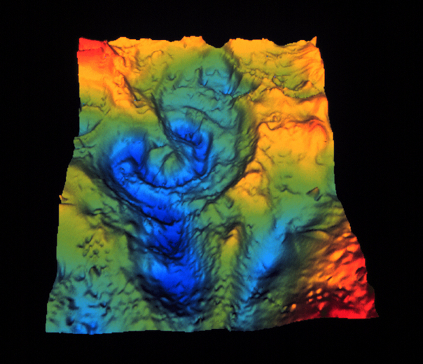 computer generated gravity map of Chicxulub Crater
